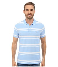 Lacoste Short Sleeve Bold Striped Pique Polo Nattier Blue 07E White Men's Clothing