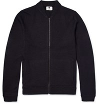Nn.07 Nn07 Jake 6209 Boiled Wool Zip Up Cardigan Midnight Blue