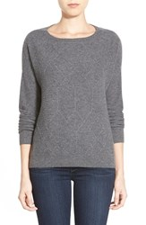 Petite Women's Halogen Diamond Pattern Cashmere Sweater