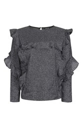 Topshop Long Sleeve Metallic Ruffle Blouse Silver