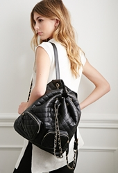 Forever 21 Quilted Faux Leather Backpack Black