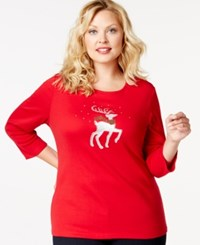 Karen Scott Plus Size Holiday Reindeer Graphic Top Only At Macy's New Red Amore