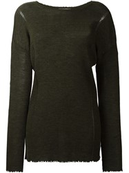 Helmut Lang Ribbed Knitted Sweater Green