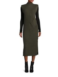 Rag And Bone Dale Merino Wool Rib Knit Maxi Dress Army