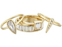Alexis Bittar 4 Piece Stacking Ring Set W Cube Pave Spike Petite Tear Drop And Baguette Eternity Band 10K Gold Ring