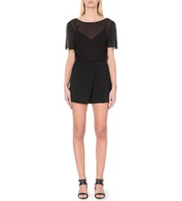 Maje Irene Chiffon And Crepe Playsuit Black