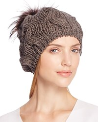 Echo Beanie With Asiatic Raccoon Fur Pom Pom 100 Bloomingdale's Exclusive Coffee