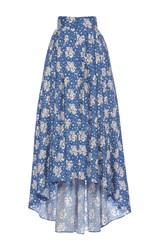 Luisa Beccaria Cotton Printed Maxi Skirt With Train