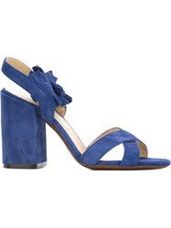 L'autre Chose Fringed Sandals Blue