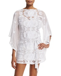 Miguelina Claudia Floral Crochet Coverup Dress Pure White