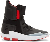 Y 3 Black And Red Noci 0003 High Top Sneakers