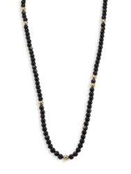 John Hardy Dot Golden Sheen Obsidian And 18K Yellow Gold Beaded Necklace Black