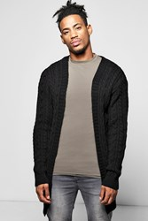 Boohoo Cable Knit Cardigan Black