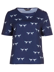 Sugarhill Boutique Lovebird Print Tee Navy