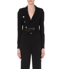 Anthony Vaccarello Cropped Mohair Blend Blazer Black