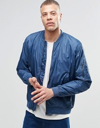 Weekday Book Bomber Jacket Blue 79 202 Red