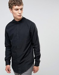 Selected Homme Grandad Shirt With Curved Hem Black