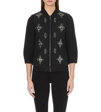Ted Baker Embellished Bomber Jacket Black