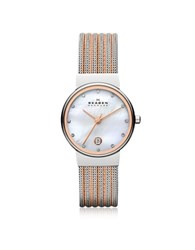 Skagen Ancher Two Tone Striped Stainless Steel Mesh Women's Watch Silver
