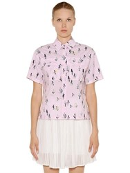Kenzo Cactus Print Stretch Cotton Poplin Shirt