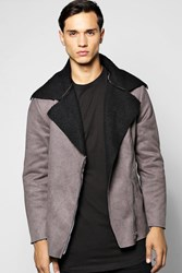 Boohoo Lined Aviator Jacket With Buckle Detail Grey