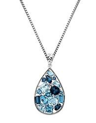 Lord And Taylor Sterling Silver Multi Blue Topaz Pendant Blue Topaz Silver