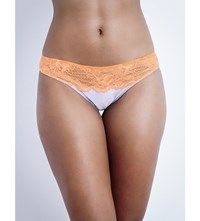 Stella Mccartney Julia Stargazing Satin And Lace Bikini Briefs Lavender Fluro Orange