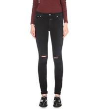 Closed Lizzy Distressed Skinny Mid Rise Jeans Torn Washed Black