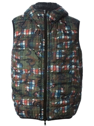 Esemplare Mixed Print Padded Gilet Green