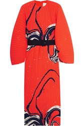 Solace London Singer Pleated Printed Crepe Dress Tomato Red