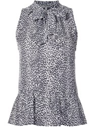 Joie Leopard Print Sleeveless Blouse White
