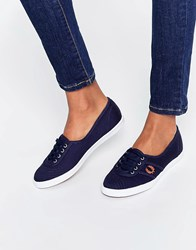Fred Perry Aubrey Twill Carbon Blue Plimsoll Trainers Carbon Blue Spicy Or Navy