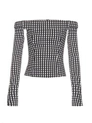 Preen Kailey Off The Shoulder Gingham Top Black White