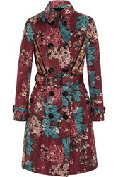 Burberry Embroidered Floral Print Cotton Blend Trench Coat