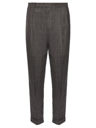 Paul Smith Pleated Front Tapered Wool Trousers Grey