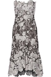 Marchesa Strapless Embroidered Lace Midi Dress Black