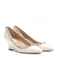 Valentino Rockstud Patent Leather Wedges Light Ivory Poudre
