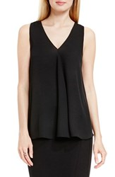 Vince Camuto Petite Women's Drape Front V Neck Sleeveless Blouse Rich Black