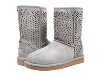 Ugg Classic Short Flora Perf Light Grey Water Resistant Suede Women's Pull On Boots Gray