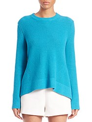 Proenza Schouler Ribbed Crewneck Sweater Turquoise