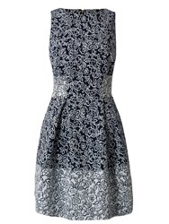 Almari Floral Jacquard Contrast Dress Navy