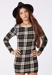 Missguided Stretch Crepe Tartan Bodycon Dress Green