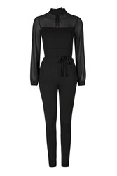 Long Sleeved Chiffon Jumpsuit By Wal G Black