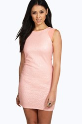 Boohoo Anissa Mesh Sequin Bodycon Dress Nude