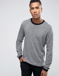 Jack And Jones Knitted Crew In Melange Black