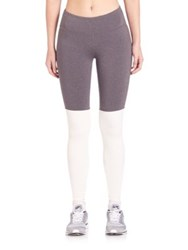 Alo Yoga Goddess Colorblock Performance Leggings Stormy Heather Natural