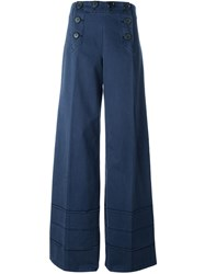 Marc By Marc Jacobs Wide Leg Buttoned Trousers Blue