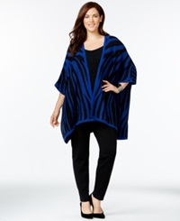 Ny Collection Plus Size Zebra Pattern High Low Poncho Cardigan Blue Black