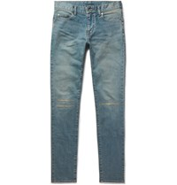 Saint Laurent Skinny Fit 15Cm Hem Distressed Stretch Denim Jeans Light Denim