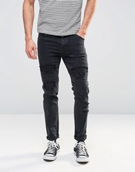 Asos Skinny Jeans With Rips In Black Black